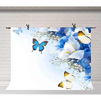 8x12 FT Butterfly Vinyl Photography Backdrop,Blue Color with Dragonflies Floral Arrangement Swirls Curves Spring Background for Party Home Decor Outdoorsy Theme Shoot Props