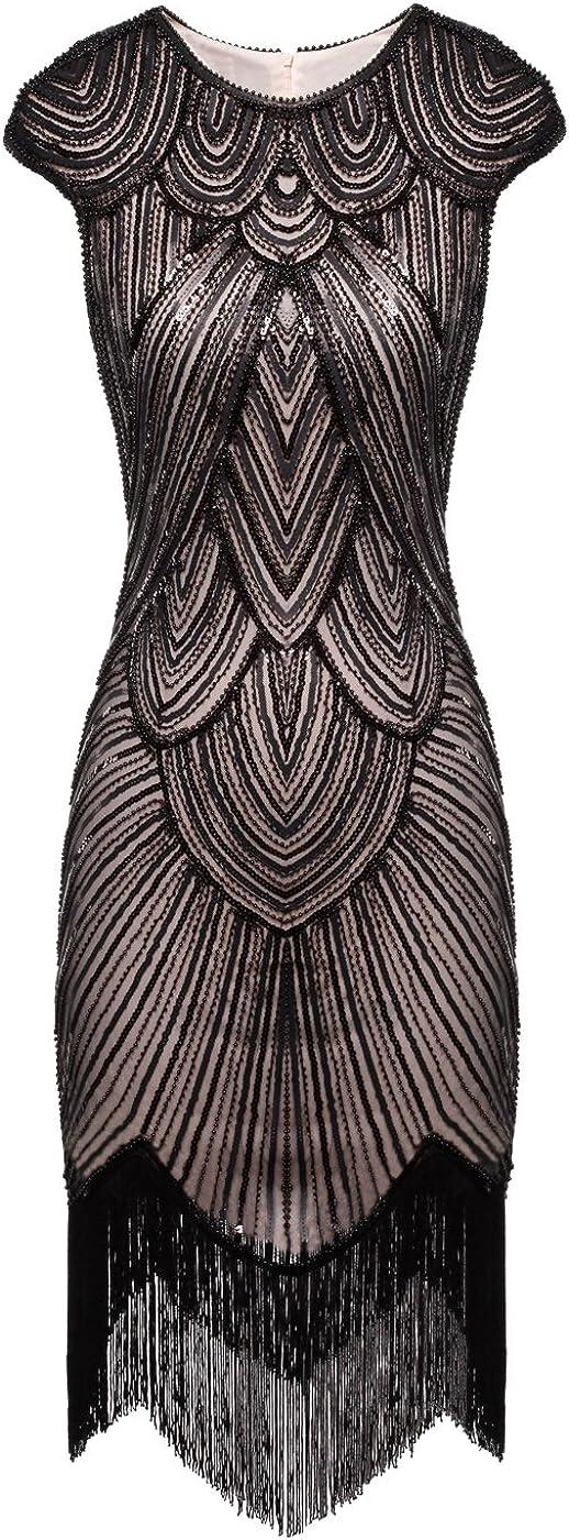 FAIRY COUPLE 1920s Sequined Embellished Tassels Hem Flapper Dress D20S002