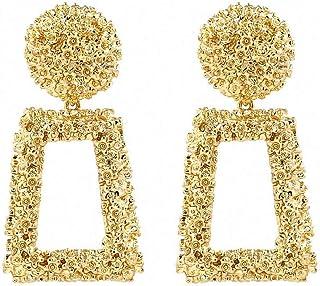 Bohemian Gold Big Drop Earrings Women Statement Geometry Metal Dangle Earrings