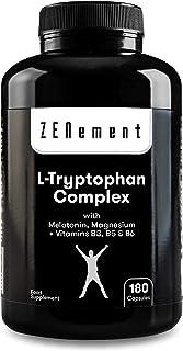 L-Triptófano Complex con Melatonina, Magnesio + Vitaminas B3, B5 y B6, 180 Cápsulas | Regula el estado de ánimo y combate el estrés, precursor de Serotonina | Vegano, libre de aditivos