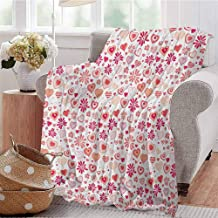 Luoiaax Love Comfortable Large Blanket Different Abstract Heart Shapes and Flowers Doodle Style Happy Retro Romantic Microfiber Blanket Bed Sofa or Travel W60 x L70 Inch Coral Peach Magenta