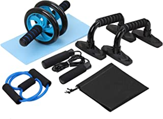 Ab Roller Wheel for Abdominal Exercise, 5-in-1 Ab Wheel Roller Set with Push-UP Bar, Jump Rope and Knee Pad,Perfect Home Gym Workout Equipment for Home Workouts-Muscle Fitness Training