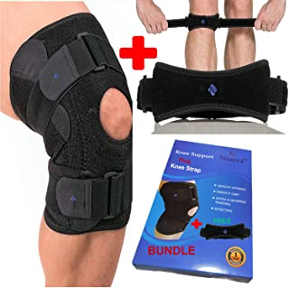 Patella Stabilizing Knee Brace with Free Patellar Tendon Support Strap for Arthritis, ACL, Meniscus Tear, Hiking, Soccer, Basketball, Running, Jumpers Knee, Tennis, Tendonitis, Volleyball & Squats