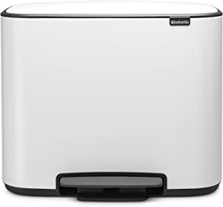 Brabantia Bo Pedal - Cubo de basura, Acero Inoxidable,  3 cubos interiores , Blanco, 3 x 11 litros