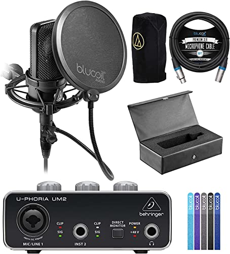 2021 Audio lowest Technica AT4040 Cardioid Condenser Microphone Bundle with Behringer U-PHORIA UM2 outlet online sale USB Audio Interface for Windows & Mac, Blucoil 10-FT Balanced XLR Cable, Pop Filter Windscreen, and 5x Cable Ties online