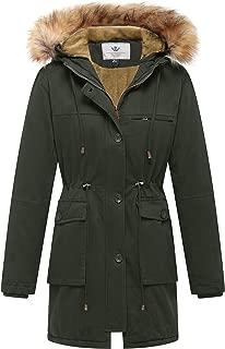 WenVen Women's Winter Coat Fleece Cotton Military Parka Fur Hooded Jacket