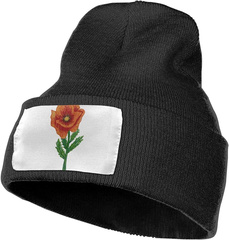 Fuuya Winter Beanie Hat Poppy Knit Cap for Men Women Black