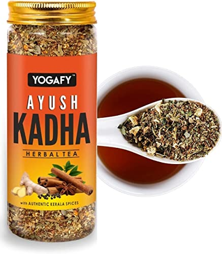 YOGAFY Ayush Kadha with Whole spices and Tulsi Leaves Immunity Booster Herbal Tea 100g 50 Cups