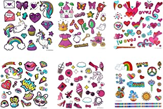 Spestyle waterproof and non toxic tattoo 6pcs Cartoon tattoos for kids fake temporary tattoos in a packages,including hearts,animals,horse,diamond,food,rainbow,girls toys,high heel,rose, etc.