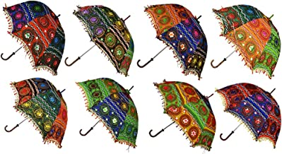 Hare Krishna Indian Cotton Parasol Fashion Umbrella Embroidered Umbrellas Parasol Wholesale 10 Pcs Lot