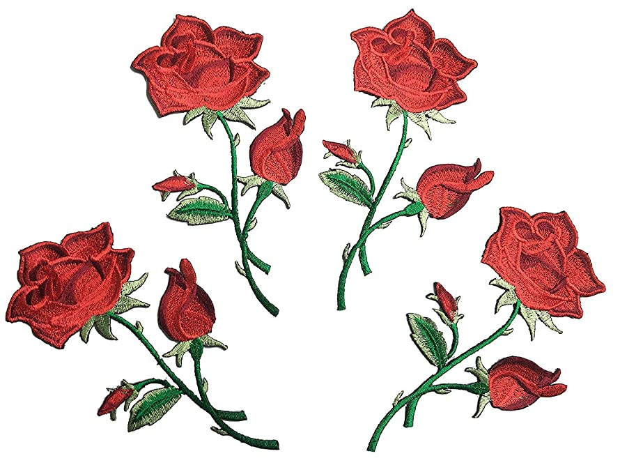 Four Rose Flowers Iron On Patches Embroidered Garment DIY Fabric Flower Motifs, Craft, Sewing, Embroidery Patches, Embroidered Lace Fabric Ribbon Trim Neckline Collar (Four Long Red)