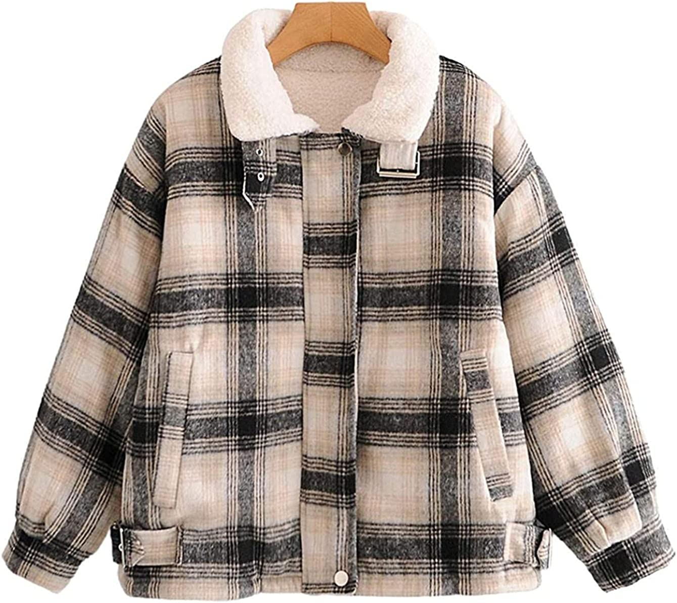 Tayaho Women's Baggy Lapel Collar Lambswool Plaid Quilted Short Warm Outwear Jacket