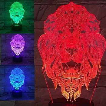 3d Der Konig Der Lowen Optische Illusions Lampen Tolle 7 Farbwechsel Acryl Beruhren Tabelle Schreibtisch Nachtlicht Mit Usb Kabel Fur Kinder Schlafzimmer Geburtstagsgeschenke Geschenk Amazon De Beleuchtung