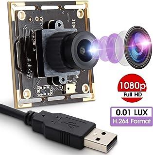 2MP Webcam 1080P USB Camera Module with Sony IMX322 Sensor HD Webcamera 0.01Lux Low Illumination Mini USB Camera Module with H.264 Format OTG Camera for Windows Android Linux Mac