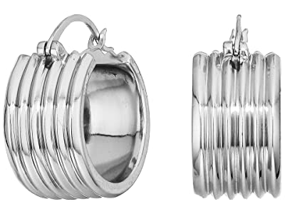 SOLE / SOCIETY Metal Huggie Earrings (Soft Polish Rhodium) Earring