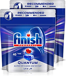Finish Dishwasher Detergent Tablets, Quantum Max, 2 x 40 Tabs (80 Tablets) (Pack of 2)