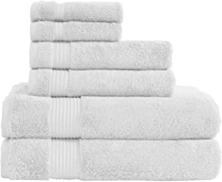 Hotel & Spa Quality Super Absorbent and Soft, Cotton, 6 Piece Turkish Towel Set for Kitchen and Decorative Bathroom, Includes 2 Bath Towels 2 Hand Towels 2 Washcloths, Snow White