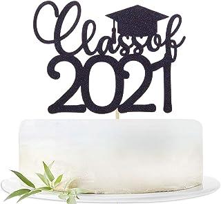 Black Glitter Class of 2021 Cake Topper - 2021 Graduation Party Decorations Supplies - Graduation Cake Topper - 2021 Grad ...