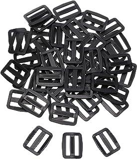 Shapenty 50PCS Black Plastic Tri-glide Slides Button Bulk Ad