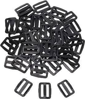 Shapenty 50PCS Black Plastic Tri-glide Slides Button Bulk Adjustable Webbing Triglides Slider Buckle for Belt Backpack and Bags (Black, 1 Inch)