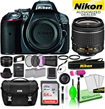 $596 » Nikon D5300 DSLR Digital Camera with 18-55mm AF-P VR Lens (Grey) (1521) USA Model Deluxe Bundle -Includes- Sandisk 64GB SD Card + Nikon Gadget Bag + Filter Kit + Spare Battery + Telephoto Lens + More