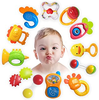 ZeeSquare Newborn Toy Accessories Baby Rattle Set 12 pcs Baby Teether Hanging Toy Shaker Grab and Spin Musical Toy Play Se...