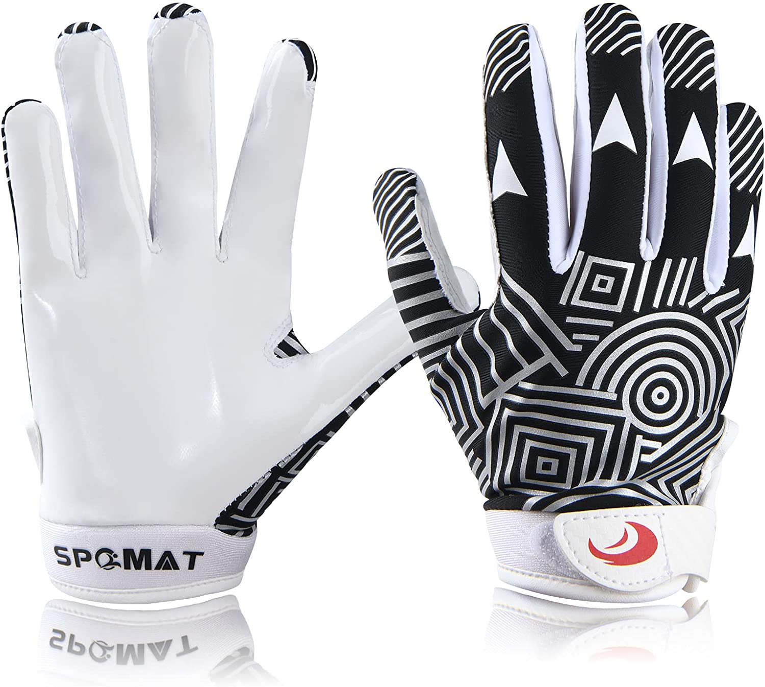 SPOMAT Youth Football Gloves Kids Silicone Grip Receiver Gloves for Kids with Super Stick Ability for Best Game Experience : Sports & Outdoors