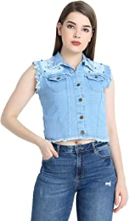 GSAMALL Women's STYLISHT Sleeveless Denim Jacket