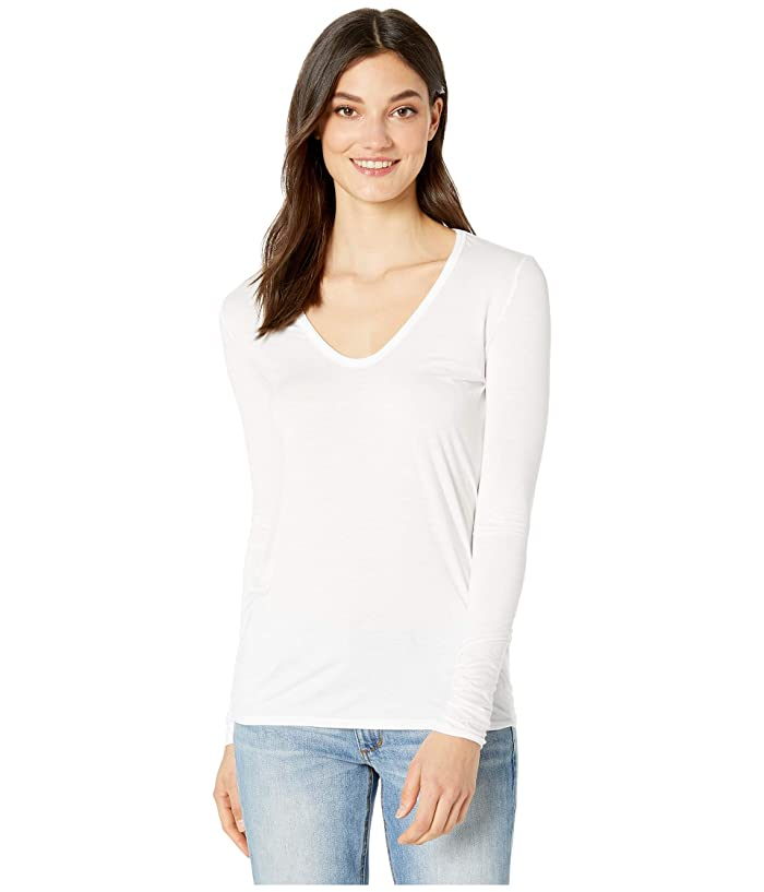 Splendid Madison Long Sleeve Rayon Jersey Scoop Neck Tee (White) Women