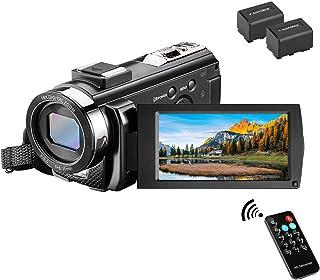 ビデオカメラ Rosdeca デジタルビデオカメラ 2400万画素 HD 1080P 30FPS 16倍デジタルズーム 遠隔操作 一時停止機能 270度回転液晶画面 3.0液晶ディスプレイ 二つバッテリーあり 日本語取扱説明書