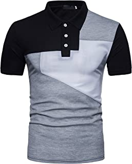 Men's Fit Slim Spell Color 3 Button Down Sport Polo Shirt