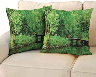 QIAOQIAOLO Pack of 2 Concealed Zipper Pillowcase Spring Decor Room Decoration 14x14 inch Deep in The Forest Woodsy Landscape with Leaves and Bridge