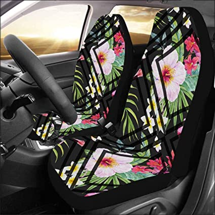 Pineapples INTERESTPRINT Universal Auto Seat Protector Car Seat Covers Airbag Compatible 2 Piece Tropical Toucans