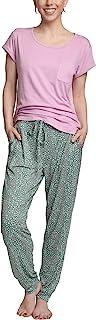 Hanes Women's Short Sleeve Top and Jogger Pajama Pants