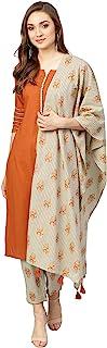 Idalia Women's Rust Cotton Kurta With Printed Pants And Dupatta