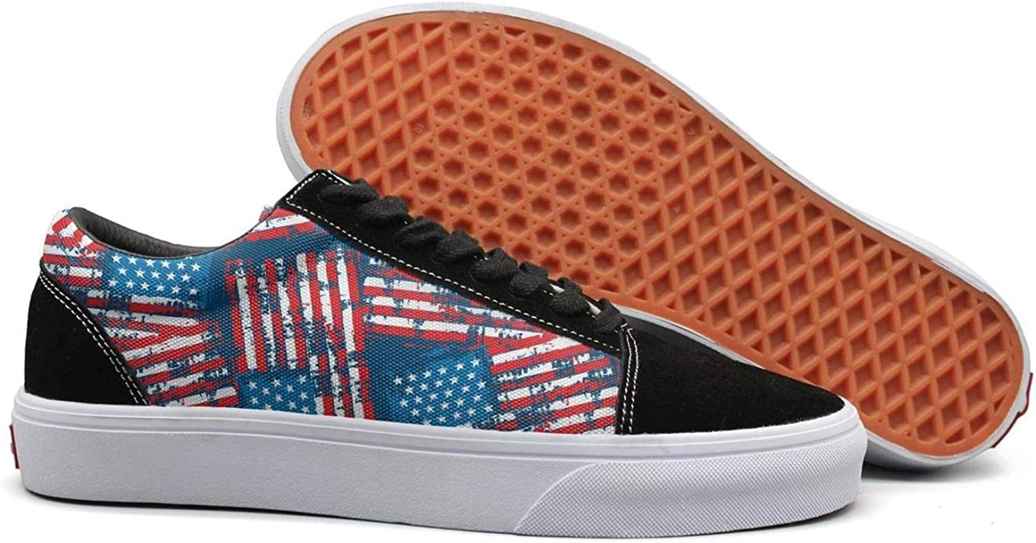 KSOWE3KD Woman Mens' Mesh Up Flat shoes Abstract American Flags red Print Unisex Cushion shoes