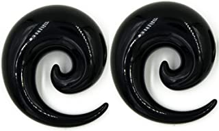 Zaya Body Jewelry Pair of Black Ear Plugs Tapers Spirals Horseshoes Tapers Gauges 24mm 22mm 20mm 18mm 16mm 14mm 12mm 11mm 10mm
