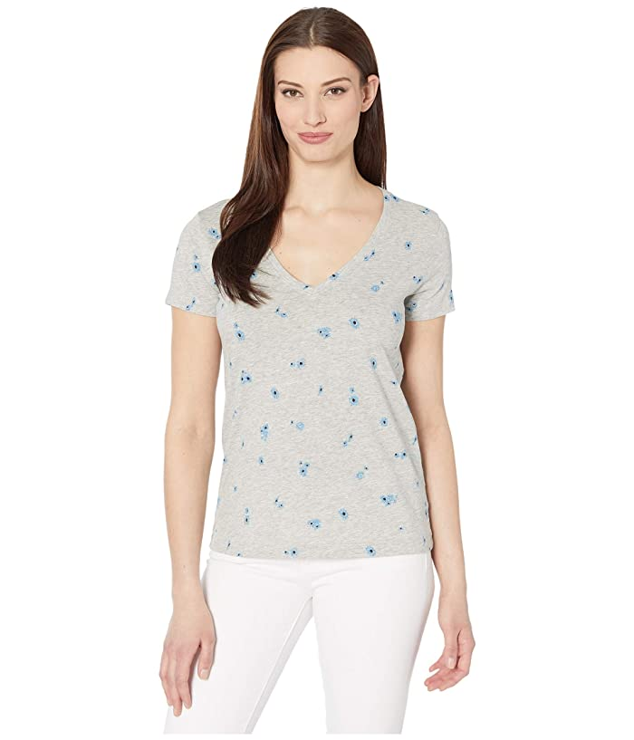Lucky Brand  Short Sleeve V-Neck Floral Tee (Heather Grey) Womens Clothing