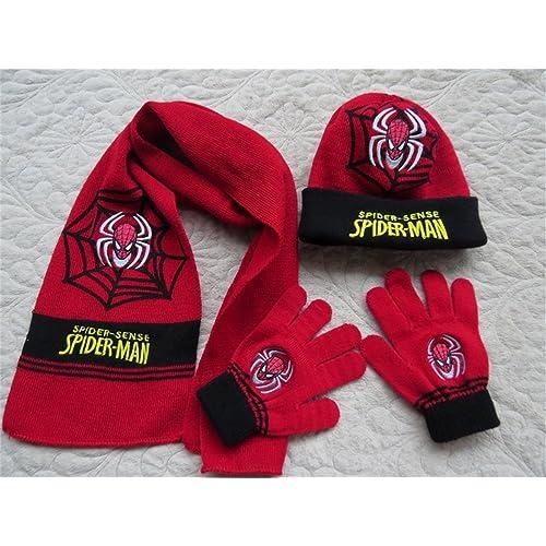 3pcs set Kids Spiderman Autumn   Winter Hat+scarf+gloves Set Kids Chrismas 813a9318c01a