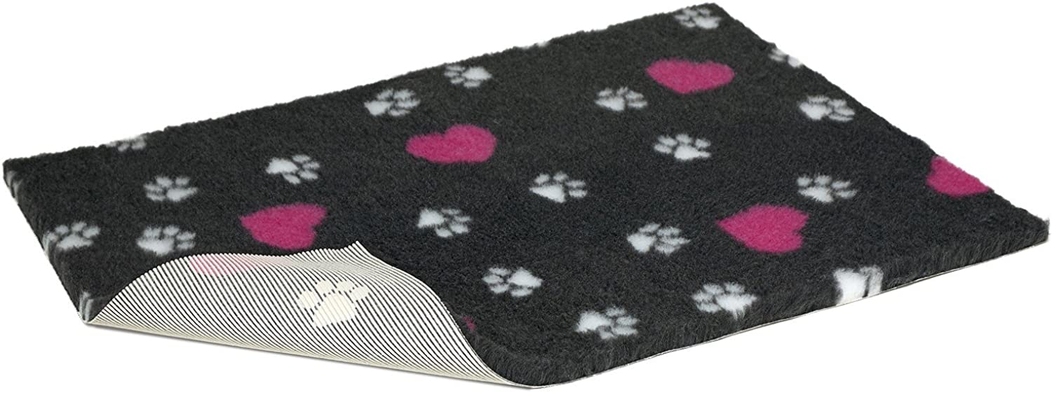 Non Slip Vetbed Half Roll Charcoal With Cerise Hearts and White Paws 10mtr