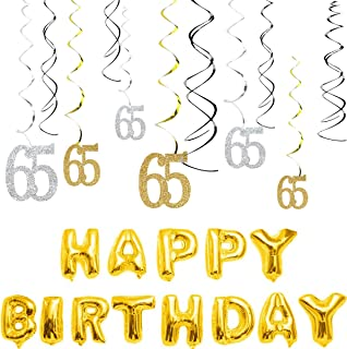MAGJUCHE 65th Birthday Decorations Kit-Gold Silver Glitter Happy 65 years old Birthday Banner & Sparkling Celebration Hanging Swirls, Party Supplies