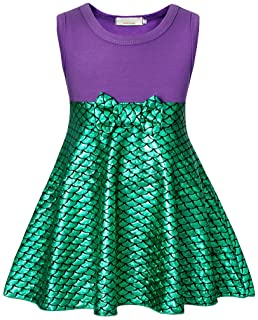 AmzBarley Girls Little Mermaid Costume Fancy Ariel Dress Princess Birthday Party Dress Up Halloween Playwear Outfit 1-10 Years