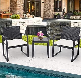 Crownland Patio Outdoor Furniture 3 Piece Patio Set Black Wicker Patio Bistro Rattan Conversation Set for Backyard Porch Poolside Lawn