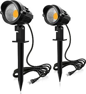 MEIKEE 改良版 7 W LEDガーデンライト、3000 K 800 LMガーデンスポットライトIP 66防水ガーデン照明 上下左右に回転可能 風景ライト&芝生ライト庭園照明 5万時間の寿命 電球色(PSE認証済 プラグが3つ口)
