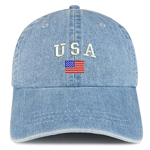 Trendy Apparel Shop American Flag USA Embroidered 100% Cotton Denim Cap Dad  Hat f4f5a18003e8
