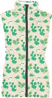 Rainbow Rules Kawaii Cactus Plants Womens Puffer Vest Bodywarmer Gilet