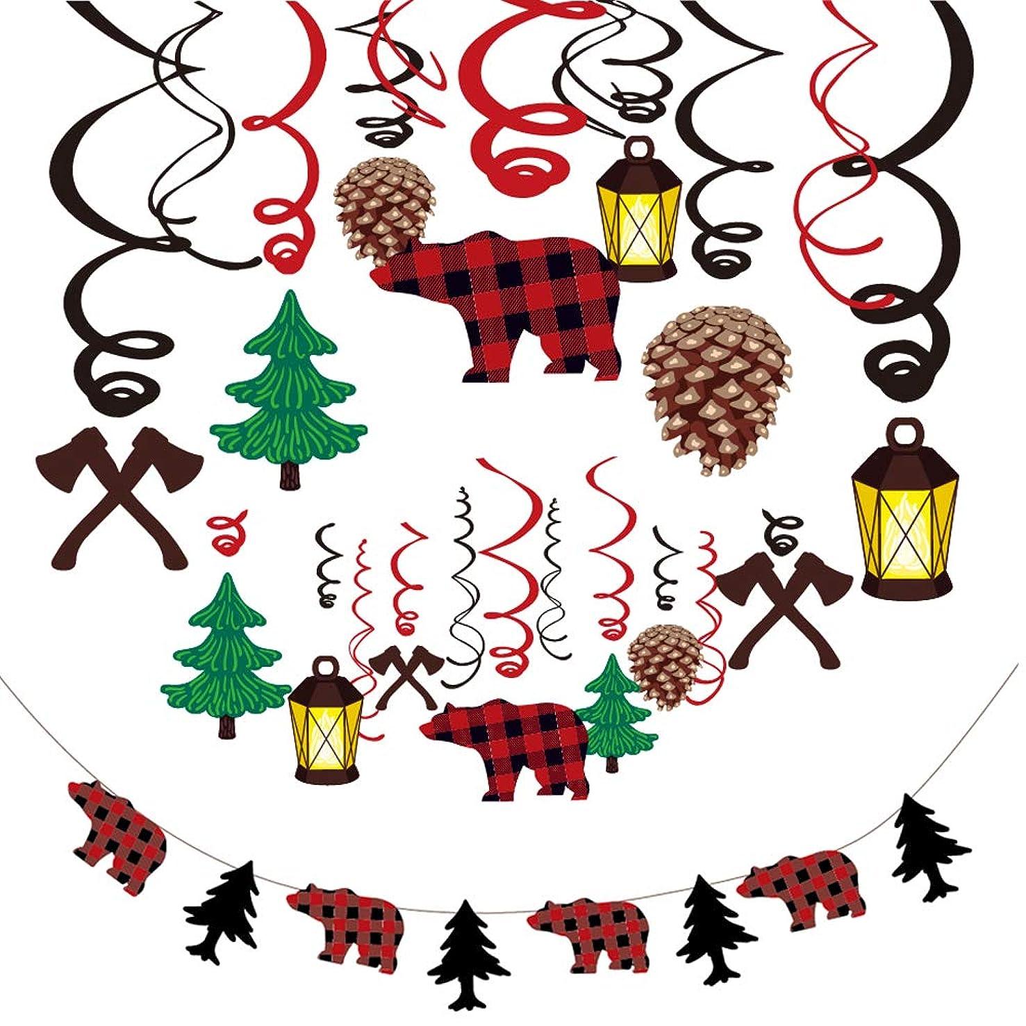 Konsait 30Pcs Lumberjack Hanging Swirl Decoration and Woodland Lumberjack Theme Banner Garland Party Supplies for Kid Birthday & Baby Shower Party Decoration