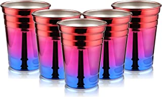 Party Cups, Kereda Rainbow Cups for Party 16oz. Stainless Steel Cups Premium Drinking Glasses Unbreakable Colorful Tumblers BPA Free Eco Friendly (Pack of 5)