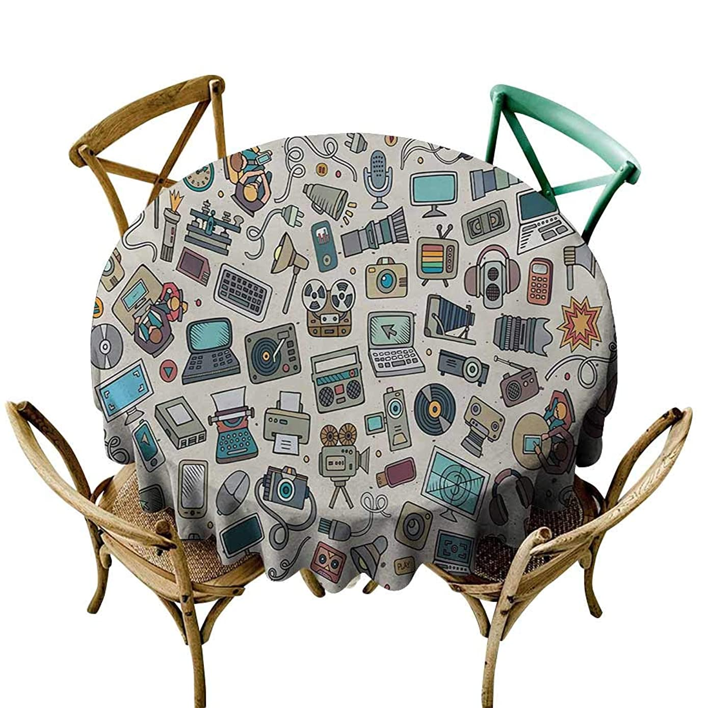 Dust-Proof Round Tablecloth Doodle Complation of Various Office Gadgets Recorder Tv Laptop Monitor Tablet Switch Mouse Picnic D55 Multicolor
