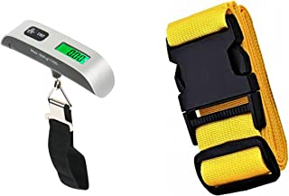 Digital luggage scale, hanging with lcd backlight, (silver,upto 50kg or 110 lb) suitcase weighing scale for travel, with yellow adjustable luggage strap bundle